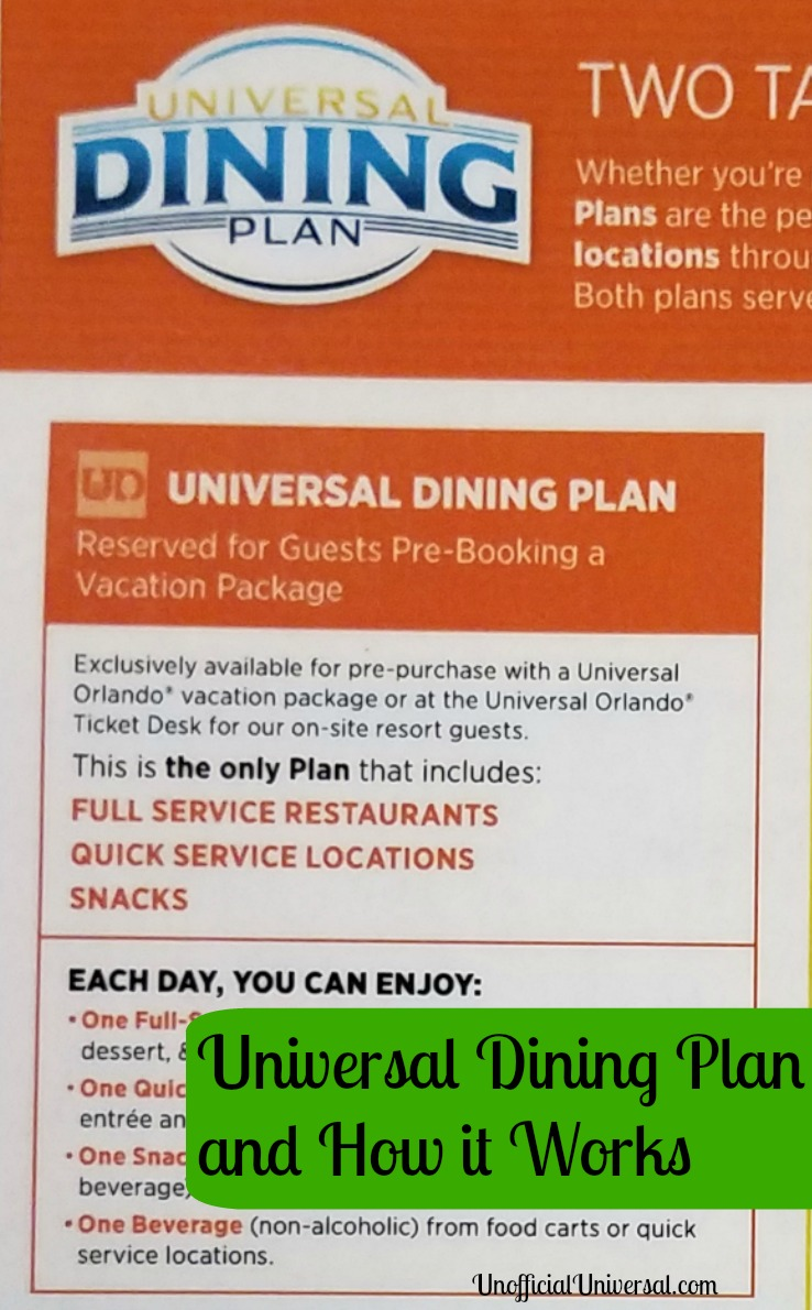 All About the Universal Dining Plan - Unofficial Universal